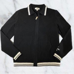 St. John Sport Black & White Zip Up Cardigan